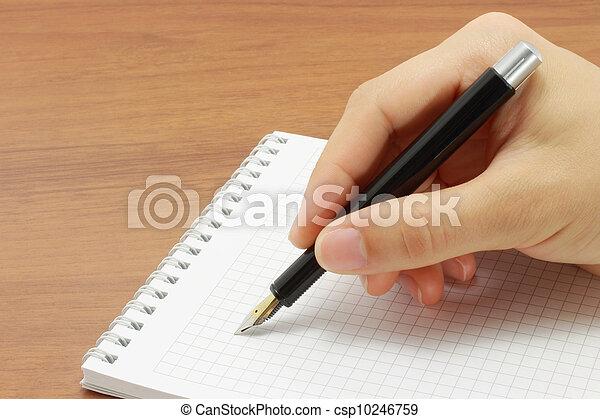 mano aperta, blocco note, scrittura - csp10246759