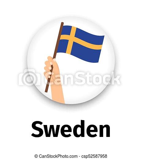 Bandera sueca en mano, icono redondo - csp52587958