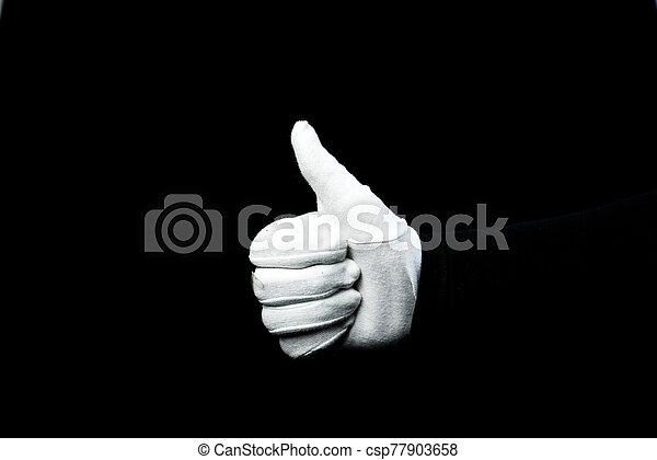 mano, blanco, guante, llevando, plano de fondo, negro - csp77903658