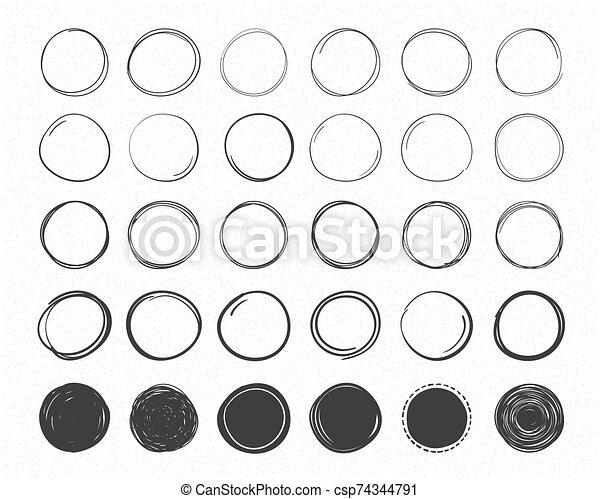 mano, círculos, dibujado - csp74344791