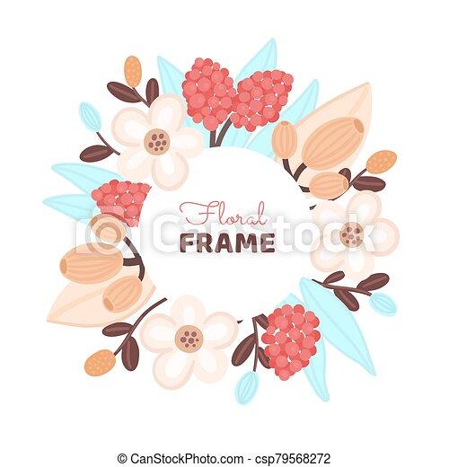mano, cerchio, disegnato, colorito, fiore, flowers., floreale, design., artistico, fondo, cornice - csp79568272