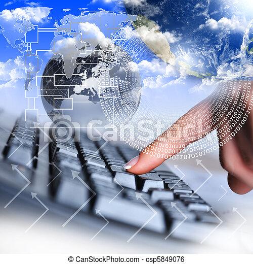 mano, computadora, humano, teclado - csp5849076