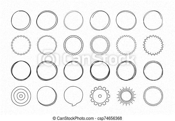 mano, dibujado, círculos - csp74656368