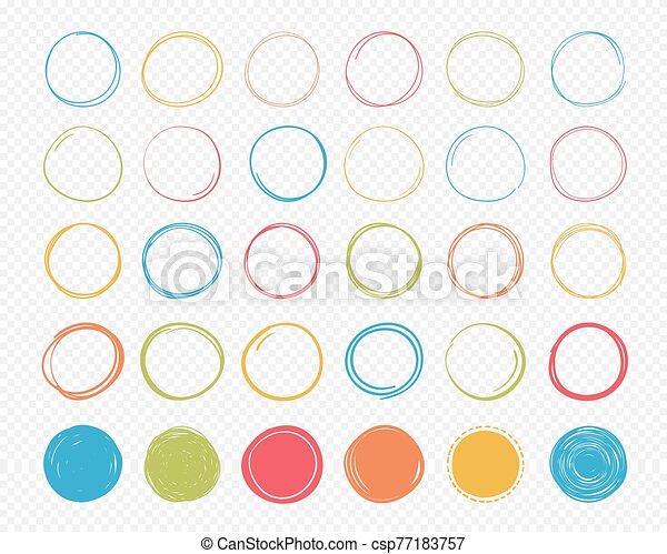 mano, dibujado, círculos - csp77183757