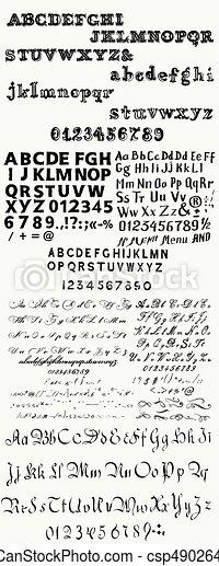 Enorme colección o conjunto de manos inglesas dibujado ABC para fuentes de estilo antiguo - csp49026411