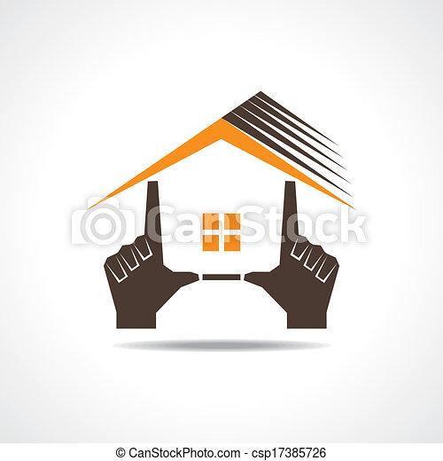 mano, icona, fare, casa - csp17385726
