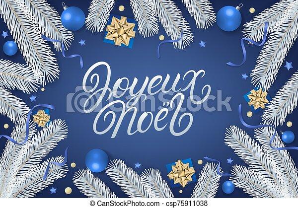 mano, letras, noel, escrito, joyeux - csp75911038