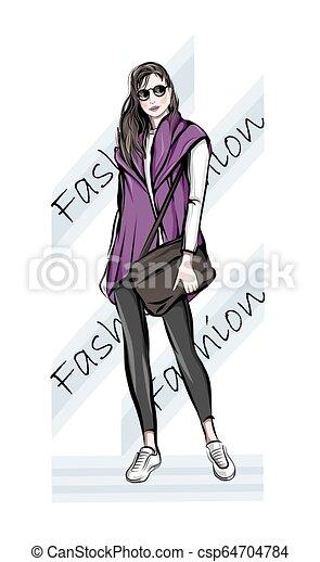 Una mujer joven y atractiva con bolso. Mujer de la moda. Una chica elegante con gafas de sol. Sketch. La ilustración de la moda. - csp64704784