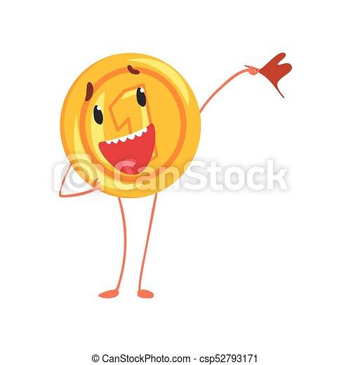 Un personaje amistoso con la bandera en la mano. Un icono brillante. Un penique de cartón al estilo plano. Ilustración vectorial aislada para pegatina, impresión, poster o aplicación móvil - csp52793171