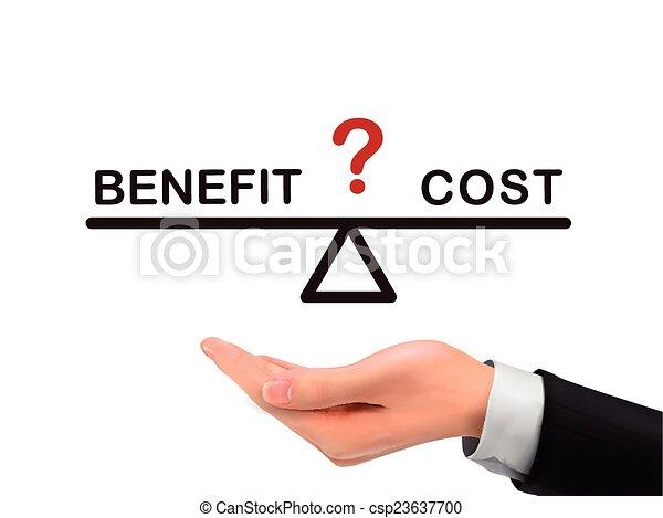 mano, realistico, beneficio, costo, presa a terra, fra, equilibrio - csp23637700