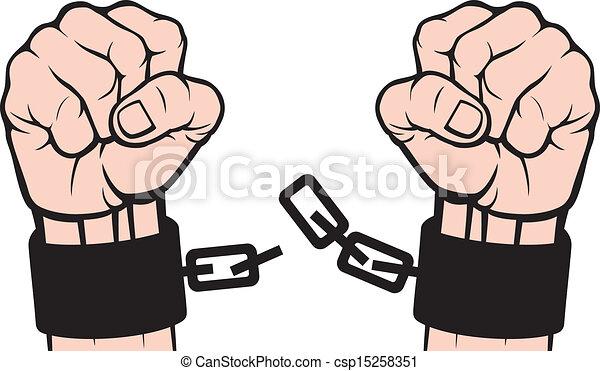 mano rota, cadenas, (fetters) - csp15258351