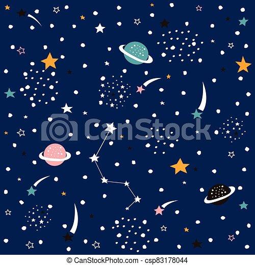 mano, seamless, espacio, vector, dibujado, galaxia, pattern. - csp83178044