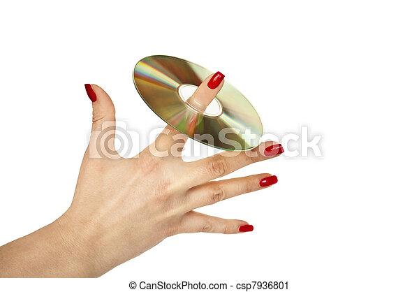 Mujer sosteniendo CD - csp7936801