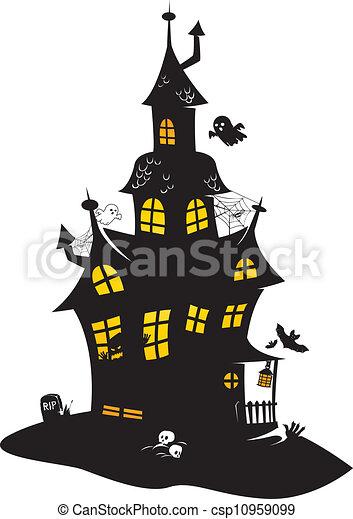 Manoir hant manoir halloween dessin traditionnel noir chauves souris fant mes monstres - Manoir dessin ...