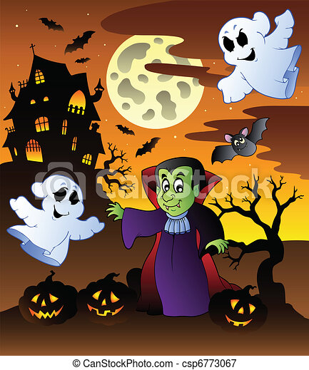 Manoir sc ne halloween 4 illustration sc ne halloween vecteur 4 manoir - Manoir dessin ...