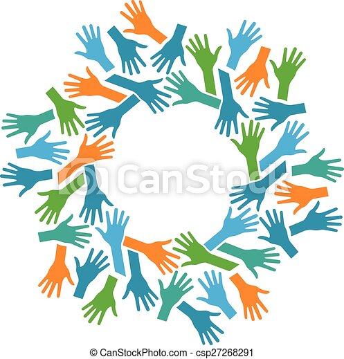 Manos en círculo. Concepto el trabajo en equipo y la comunidad - csp27268291