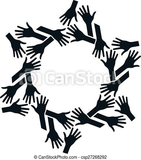 Manos en círculo. Concepto el trabajo en equipo y la comunidad - csp27268292
