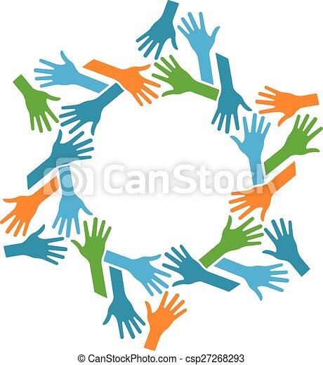 Manos en círculo. Concepto el trabajo en equipo y la comunidad - csp27268293