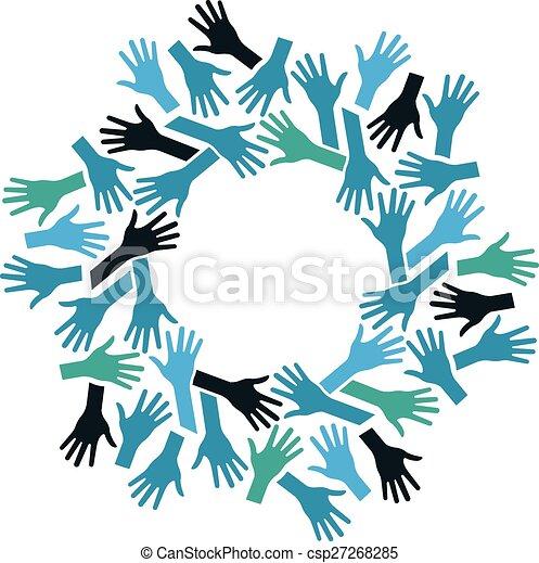 Manos en círculo. Concepto el trabajo en equipo y la comunidad - csp27268285