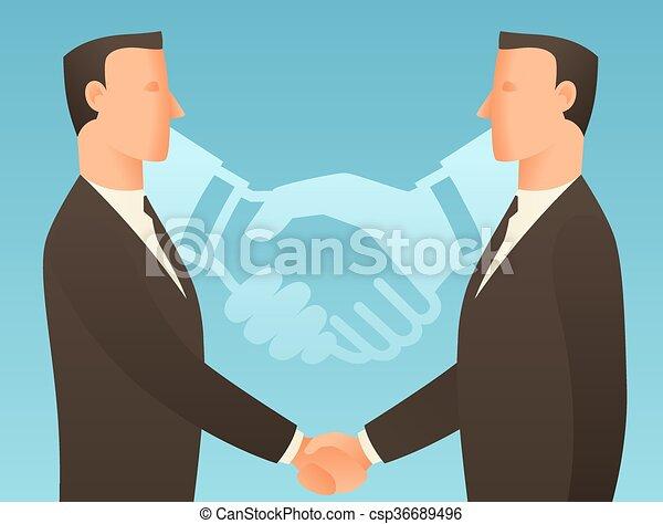 Ilustración conceptual de socios con hombres de negocios estrechando la mano - csp36689496