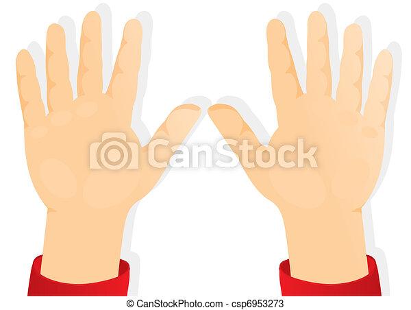 Las manos de los niños, las palmas hacia adelante - csp6953273