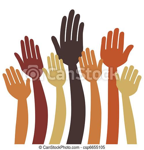 Manos voluntarias o vector de votación - csp6655105