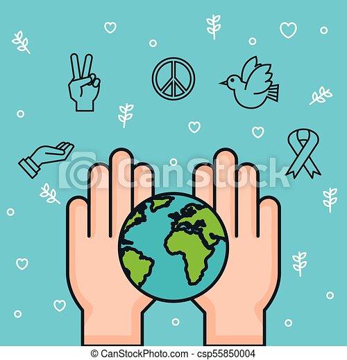 Las Manos De La Tierra Juntos Simbolizan La Paz Manos A La