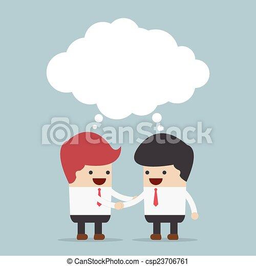 Hombres de negocios estrechando manos y en blanco - csp23706761