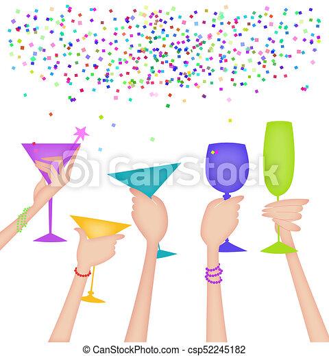 Manos de mujeres levantando vasos en un brindis - csp52245182