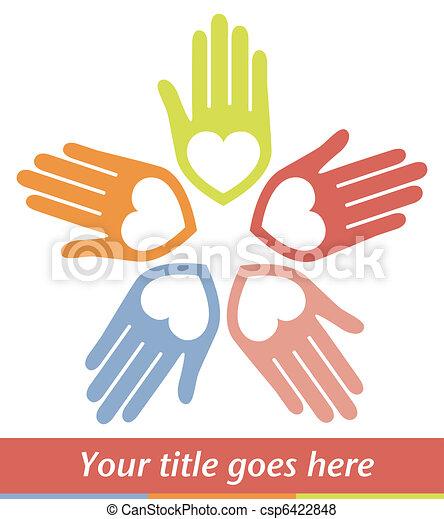 Manos y corazones unidos diseñan. - csp6422848