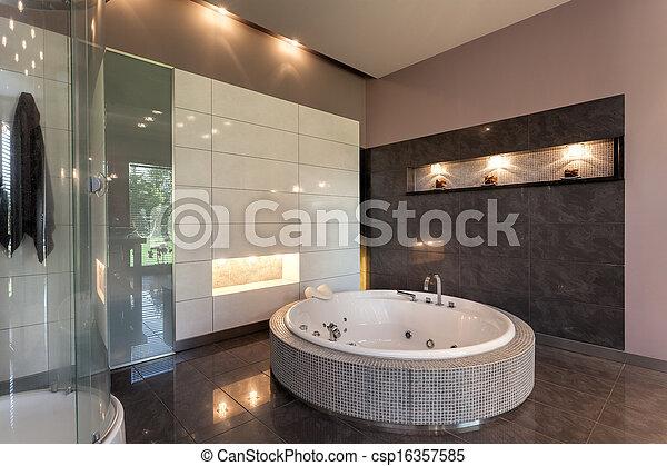 mansão, luxo, redondo, banho - csp16357585