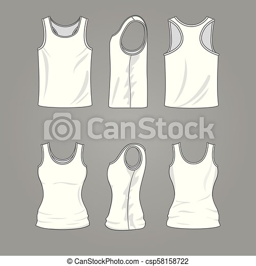 Mans and womans blank outline casual tank top vector mockup - csp58158722
