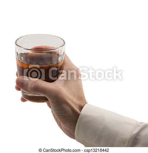 man's hand holding glass - csp13218442