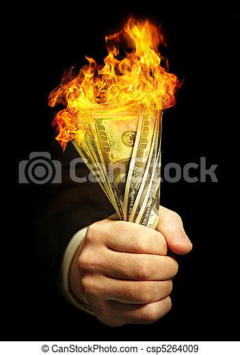 man's hand holds dollars - csp5264009
