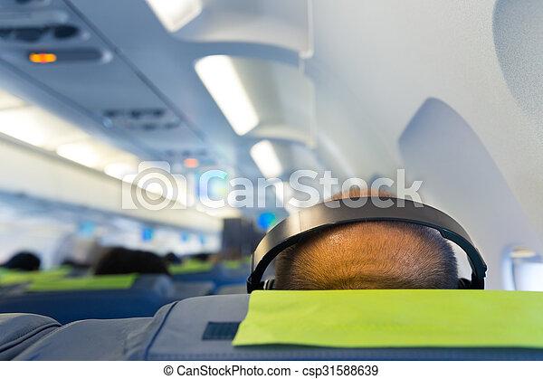 Man's head in headphones - csp31588639