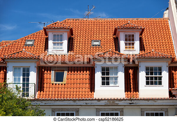 Mansard Roof In Lisbon Portugal The View Of Mansard Tiled Roof With Dormer Windows In Lisbon Portugal