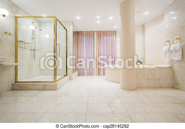 Mansión, cuarto de baño, lujo, espacioso. Pastel, cuarto de baño ...