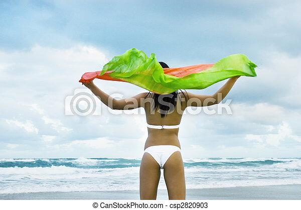 mantô, biquíni, segurando, modelo, praia, vento - csp2820903