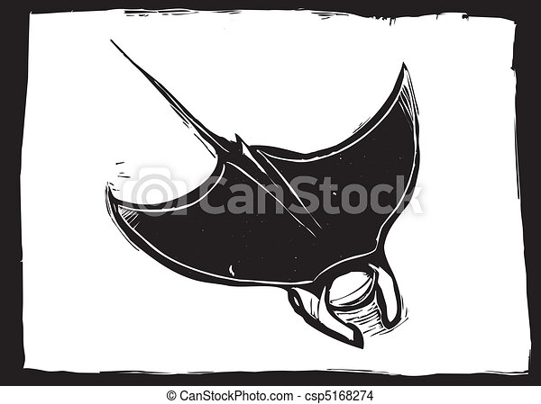 Manta Ray Swims In The Ocean In A Woodcut Style Image