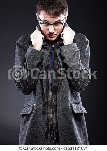 site professionnel aperçu de texture nette manteau, beau, jeune homme