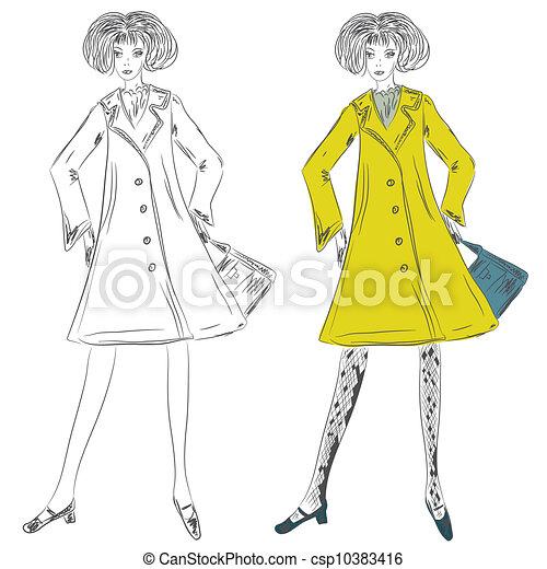 Manteau croquis mode girl clipart recherchez - Dessin de manteau ...