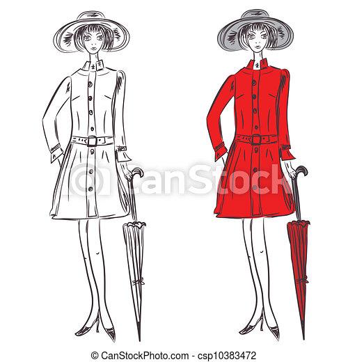 Manteau croquis parapluie girl rouges illustrations de - Dessin de manteau ...