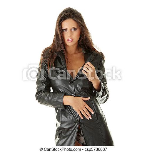 Long manteau cuir noir femme