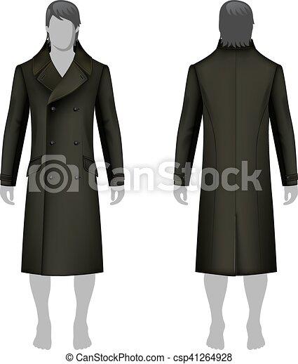 Manteau, homme. View), gabarit, &, manteau, esquissé, isolé