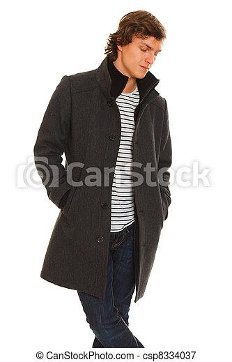 magasin britannique prix réduit soldes manteau hiver, jeune, pensif, portrait, homme