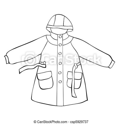 Manteau pluie contour manteau isol pluie white - Manteau dessin ...