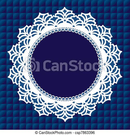 mantelito, vendimia, marco, encaje - csp7863396