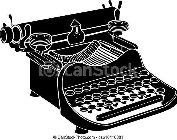manuel, vecteur, machine écrire - csp10410381