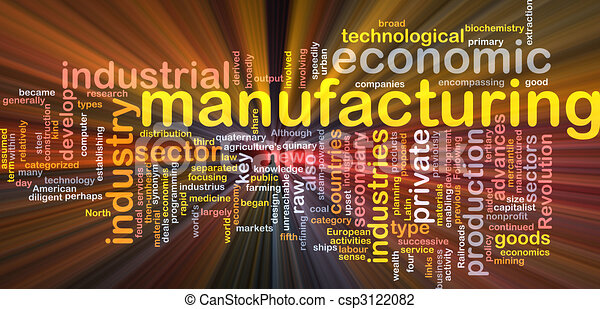 Manufacturing word cloud glowing - csp3122082