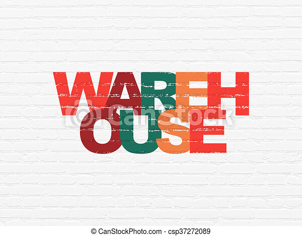 Manufacuring concept: Warehouse on wall background - csp37272089